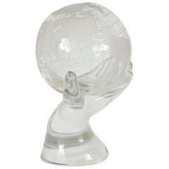 Vintage Surrealist Crystal Sculpture of a Hand Holding the World Globe