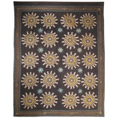 Vintage Suzani Embroidery in Black Background with Yellow, Blues and Taupe