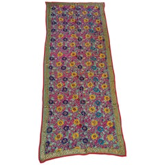 Vintage Suzani Embroidery in Teal Background with Yellow Pink Turquoise