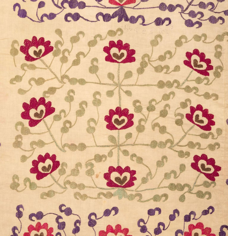 Embroidered Vintage Suzani from Samarkand, Uzbekistan, 1970s For Sale