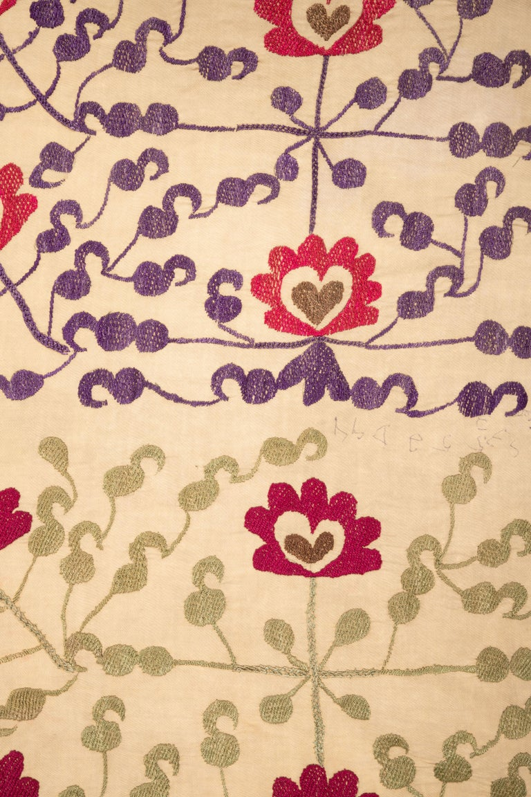 Cotton Vintage Suzani from Samarkand, Uzbekistan, 1970s For Sale