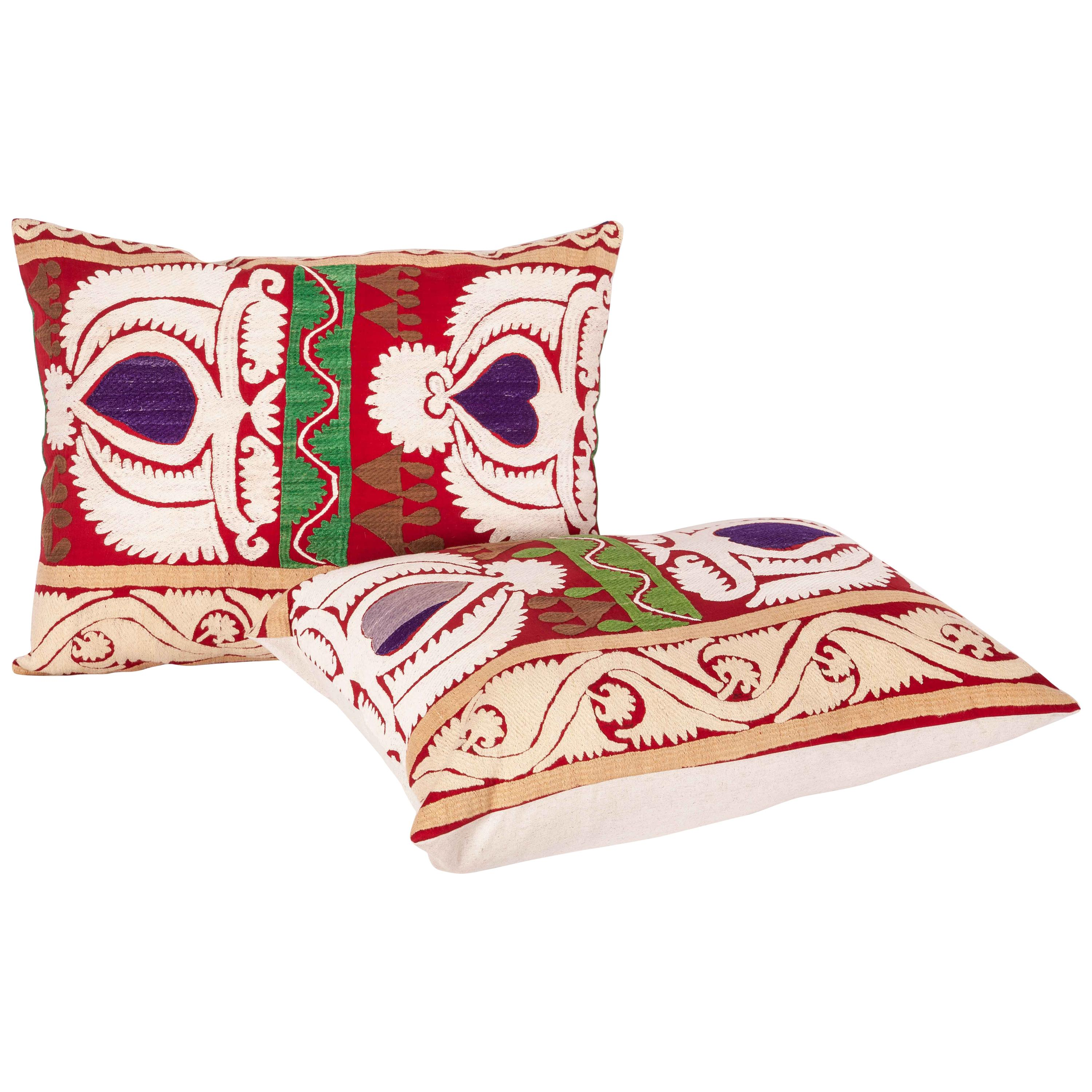 Vintage Suzani Pillow Cases, Cushion Covers, Mid-20th Century