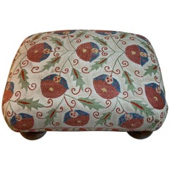 Vintage Suzani Upholstered Foot Stool