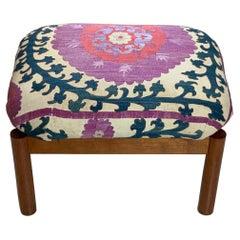 Vintage Suzani Upholstered Sitting Stool