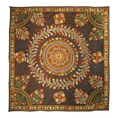 Vintage Suzani with Colorful Embroidery on Black Background