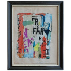 Vintage Sven Hauptmann Mixed-Media Collage in Antique Frame, Denmark, 1974