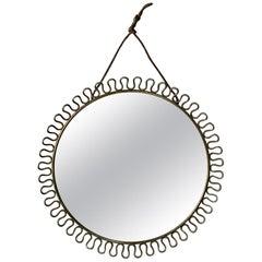 Vintage Svenskt Tenn Josef Frank Swedish Brass Circular Hooped Mirror