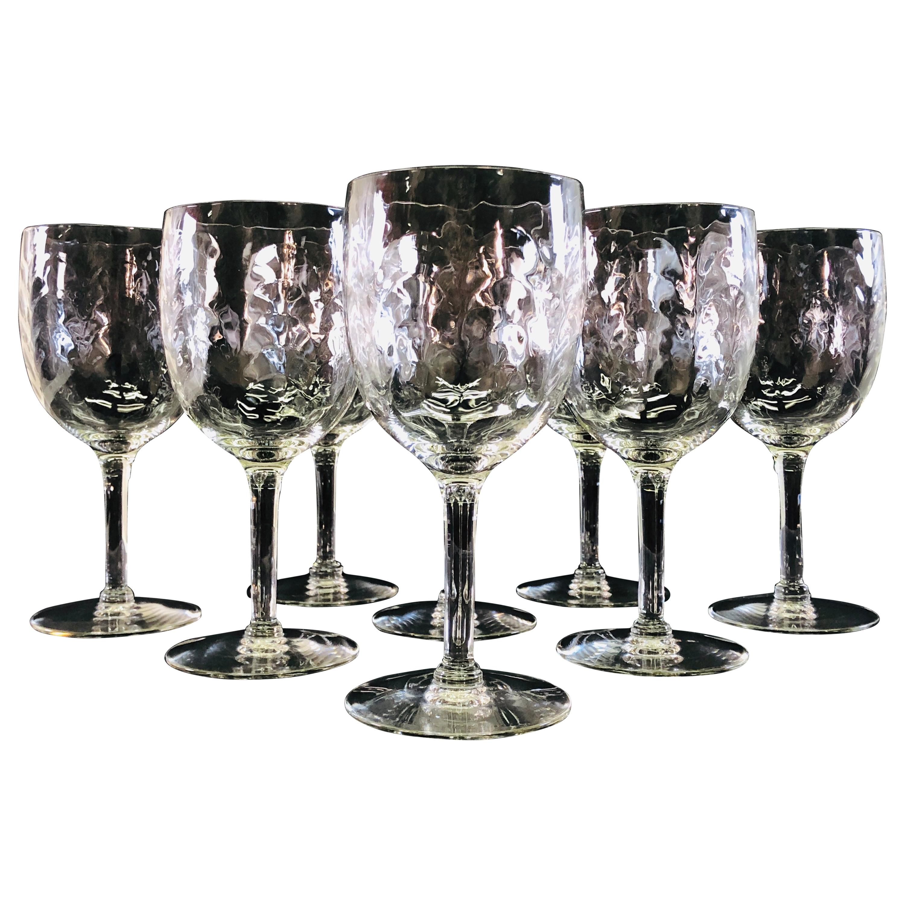 Vintage Swag Style Tall Glass Wine Stems, Set of 8