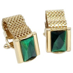 Vintage Swank Tivoli Malachite Crystal Cufflinks and Stud, Gold