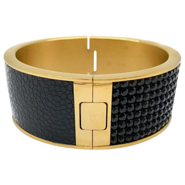 Vintage Swarovski Bangle Black Crystal Gilt Leather 2000s For Sale