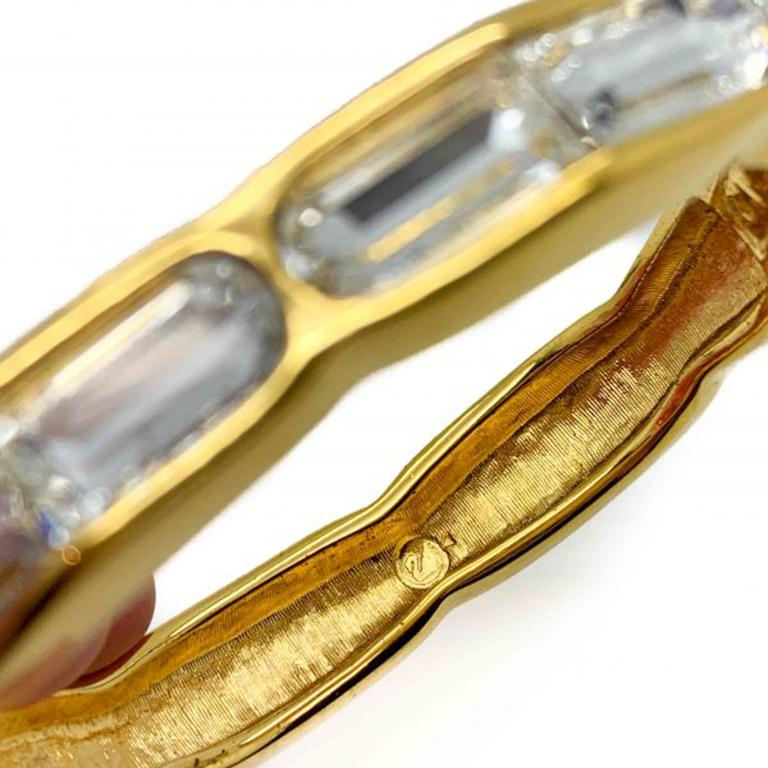 Vintage Swarovski Bangle Gold & Fancy Cut Crystal 1990s In Good Condition For Sale In Wilmslow, GB