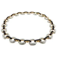 Vintage Swarovski Crystal & Black Enamel Glitterati Collar 1980s