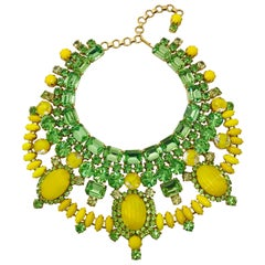 Vintage Swarovski Peridot and Citrus Yellow Bib Necklace
