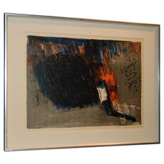 Vintage Swedish Abstract Lithograph by Leif Knudsen c. 1962