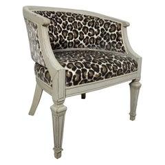 Vintage Swedish Barrel Back Chair with a Velvet Kravet Couture Animal Print