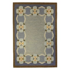 Vintage Swedish Blue, Brown, White and Yellow Hand Knotted Wool Rug
