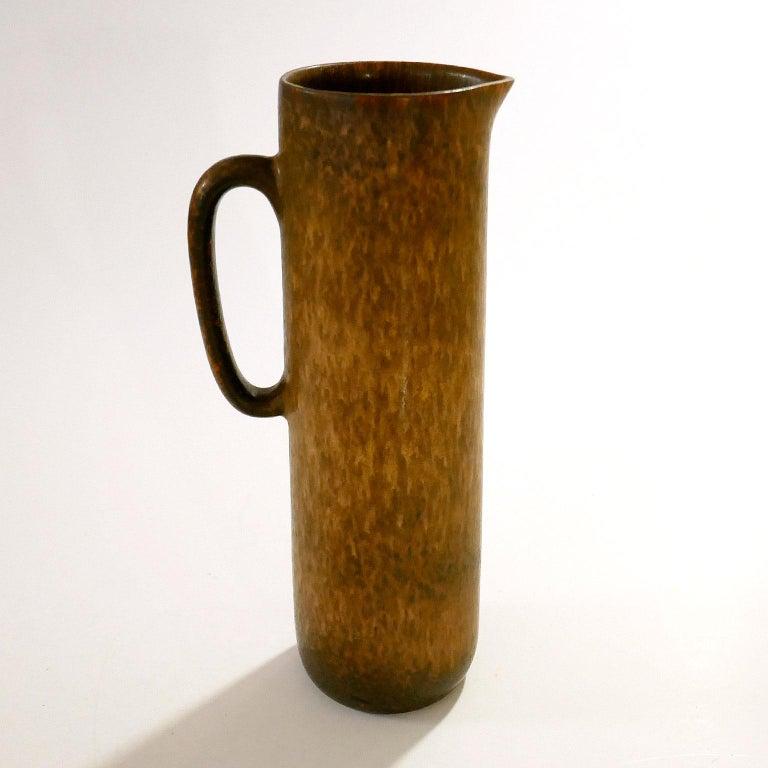 Scandinavian Modern Vintage Swedish Brown Pitcher Vase Carl-Harry Stålhane for Rörstrand For Sale