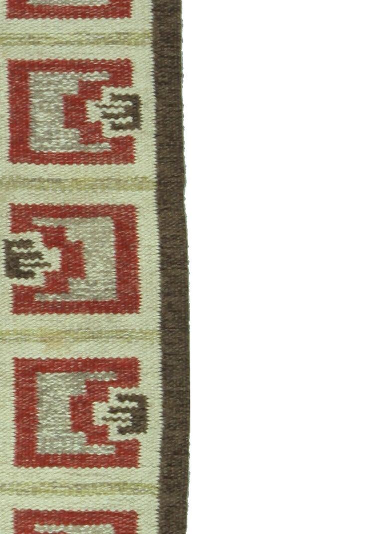 20th Century Vintage Swedish Brown Rug For Sale
