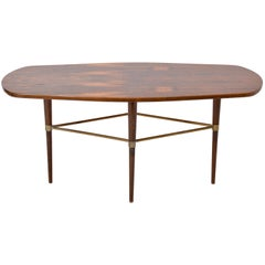 Vintage Swedish coffee table in Rosewood and Brass details by Förenades Möbler