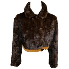 Vintage Swedish Cropped Chocolate Brown Mink Jacket