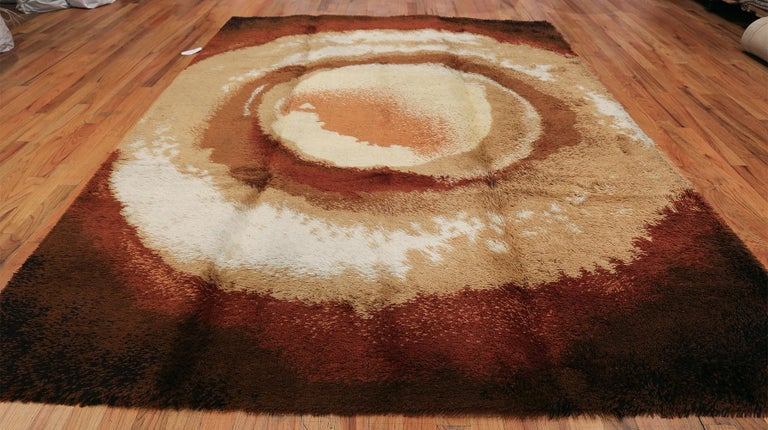 Vintage Swedish deco rug, Origin: Sweden, circa mid-20th century, size: 8 ft. 2 in x 11 ft. (2.49 m x 3.35 m)  Rendered in a handsome selection of warm coffee browns, this sophisticated vintage Swedish rug takes the genre of latte art to a new