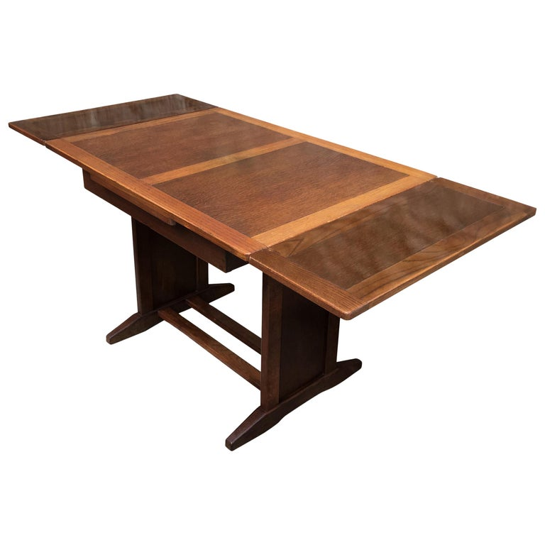 Vintage Swedish Extendable Trestle Solid Oak Dining Table 1910s