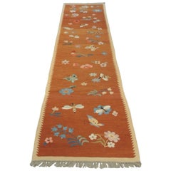 Vintage Swedish Flat-Weave Floral Runner with Hand Knotted Fringes