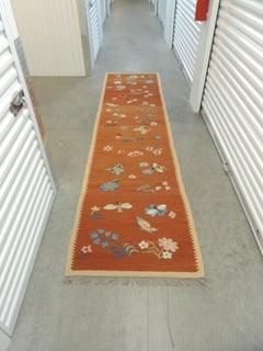 Vintage Swedish Flat-Weave Floral Runner with Hand-Knotted Fringes