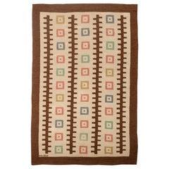 Vintage Swedish Flat-Weave Rug by GO