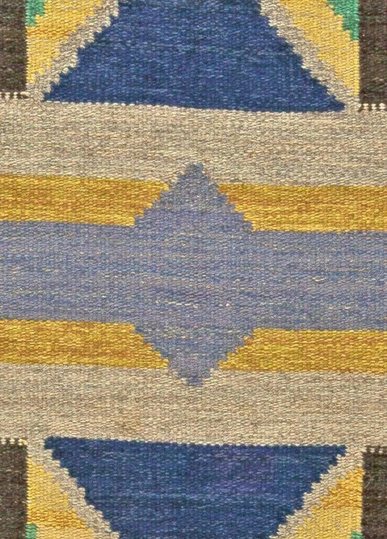 Vintage Swedish flat-weave rug Size: 5'0