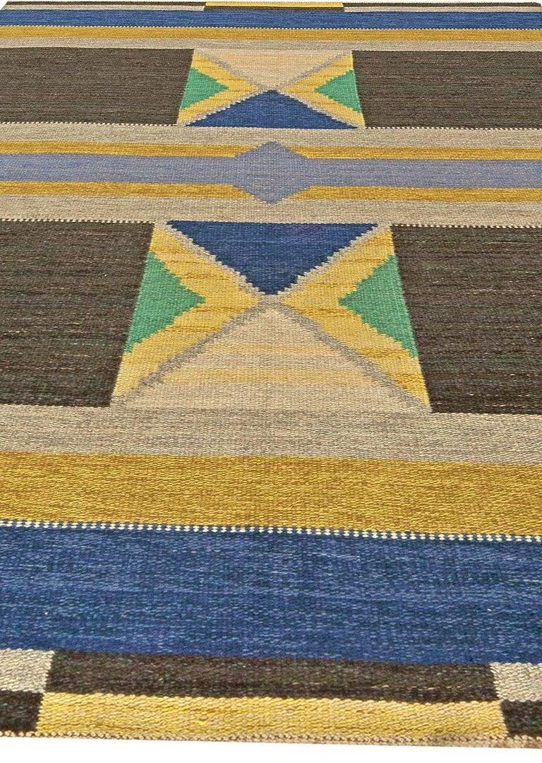 Hand-Woven Vintage Swedish Flat-Weave Rug For Sale