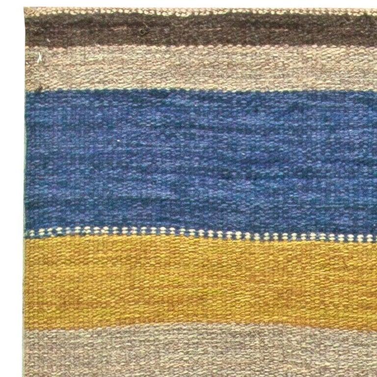 Wool Vintage Swedish Flat-Weave Rug For Sale