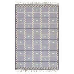 Mid-Century Swedish Lavender Flat weave Rug