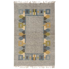 Vintage Swedish Flat-Weave Rug Signed 'JR'