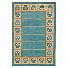 Vintage Swedish Flat-Weave Rug Signed 'W'