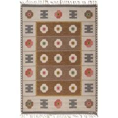 Vintage Swedish Flat-Weave Rug, Signed Wa