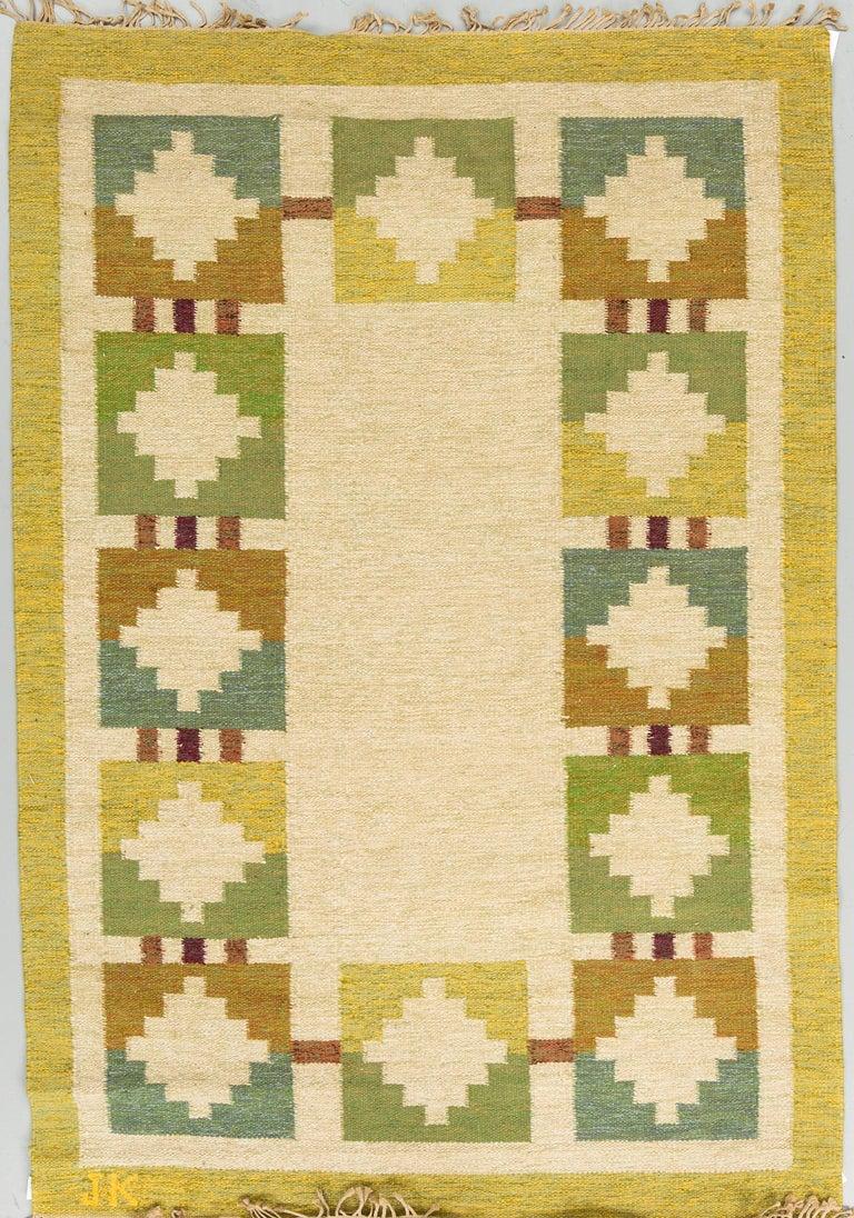 Karin Jönsson (Sweden, Born 1935) Vintage midcentury flat-weave, signed JK, around 245 x 169 cm.