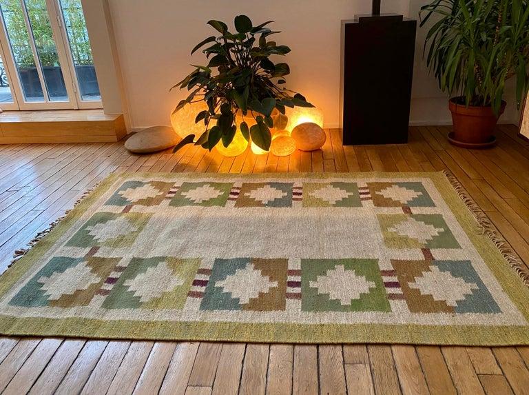 Vintage Swedish Flat-Weave Wood Carpet Signed by Karin Jönsson 1