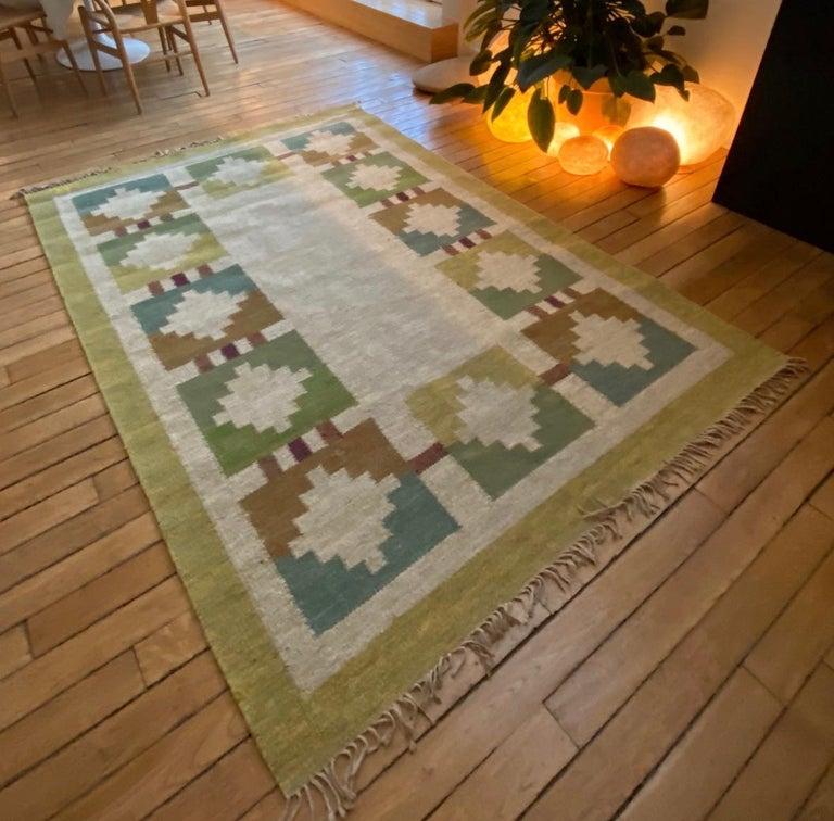 Vintage Swedish Flat-Weave Wood Carpet Signed by Karin Jönsson 2