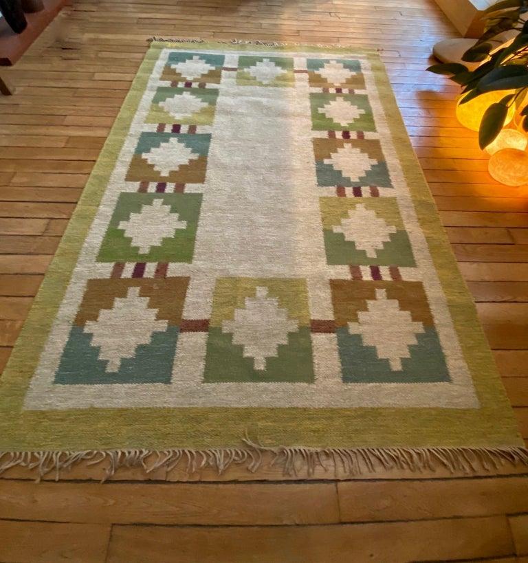 Vintage Swedish Flat-Weave Wood Carpet Signed by Karin Jönsson 3