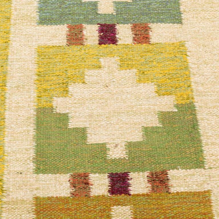 Vintage Swedish Flat-Weave Wood Carpet Signed by Karin Jönsson 4