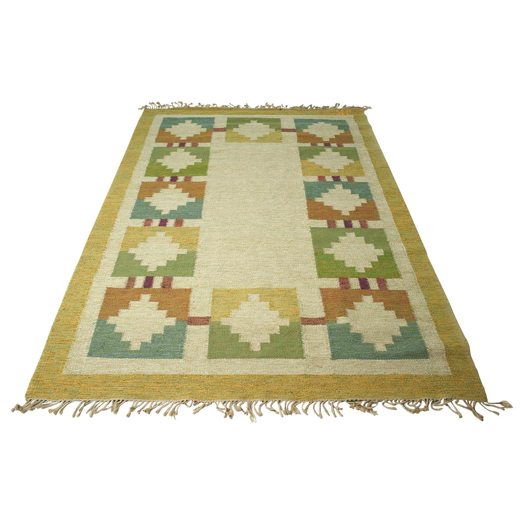 Vintage Swedish Flat-Weave Wood Carpet Signed by Karin Jönsson