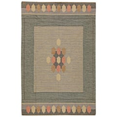 Mid-century Swedish Flat-Weave Wool Rug Signed by Ingegerd Silow
