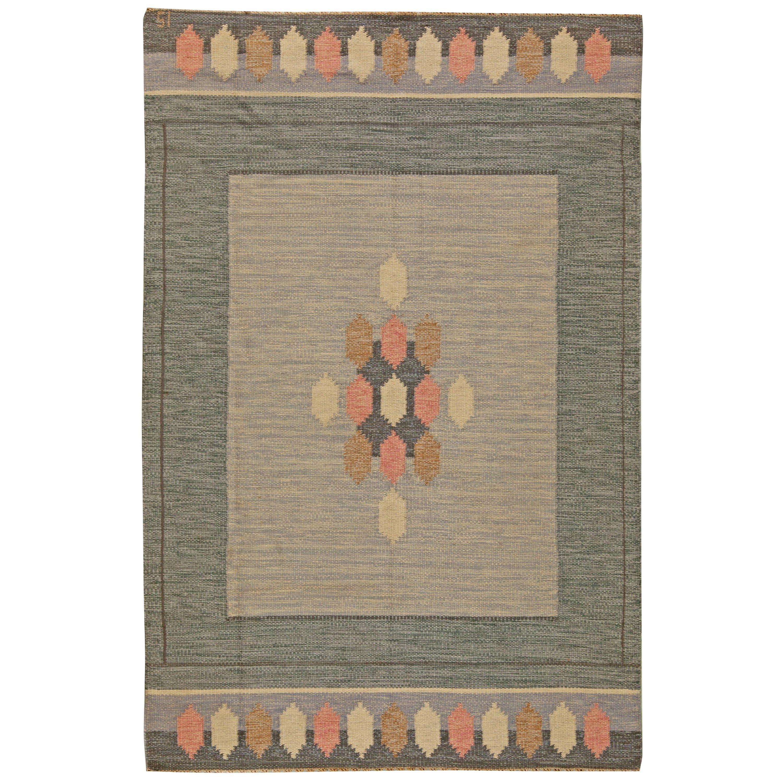 Vintage Swedish Flat-Weave Wool Rug Signed by Ingegerd Silow