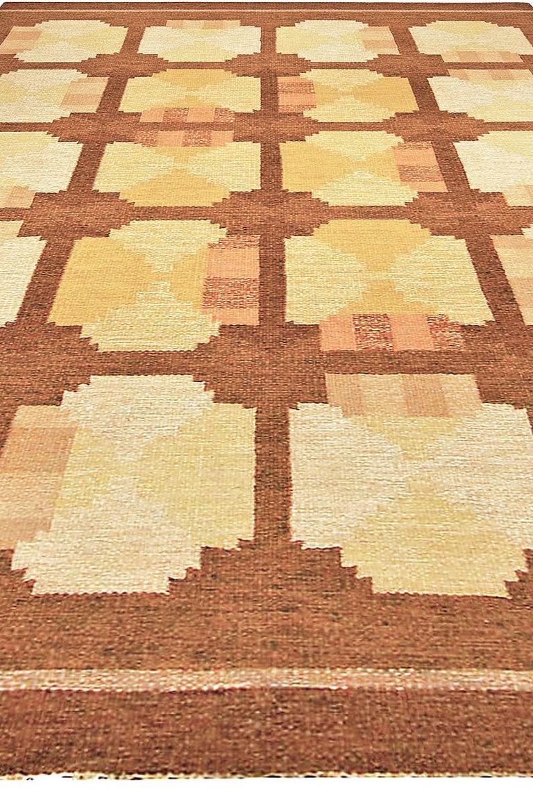Vintage Swedish flat-woven rug Size: 6'5