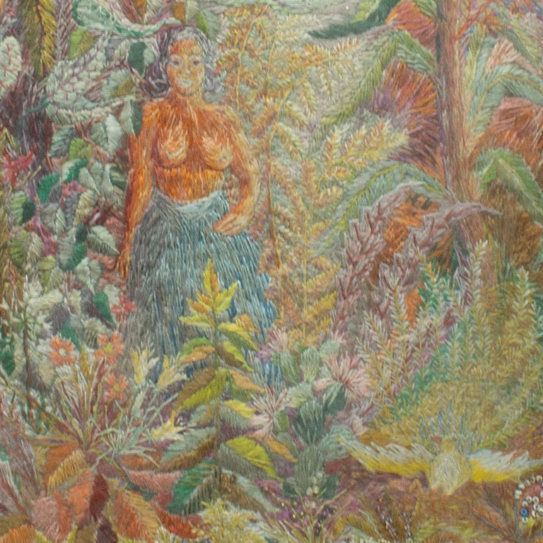 Vintage Swedish Framed Embroidery of a Native Woman in a Tropical Environment In Good Condition For Sale In Stockholm, SE
