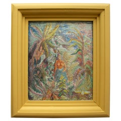 Vintage Swedish Framed Embroidery of a Native Woman in a Tropical Environment