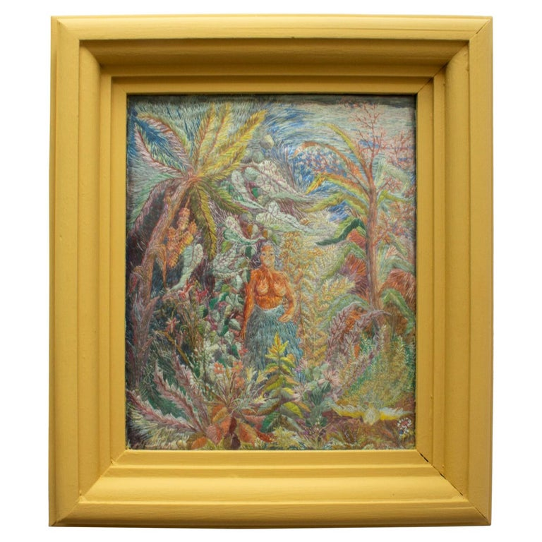 Vintage Swedish Framed Embroidery of a Native Woman in a Tropical Environment For Sale
