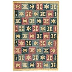 Vintage Swedish Geometric Flat-Weave Wool by Anna-Greta Sjöqvist