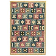 Vintage Swedish Geometric Flat-Woven Wool by Anna-Greta Sjöqvist